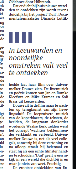 Read more: REcensie DUIF in Leeuwarder Courant